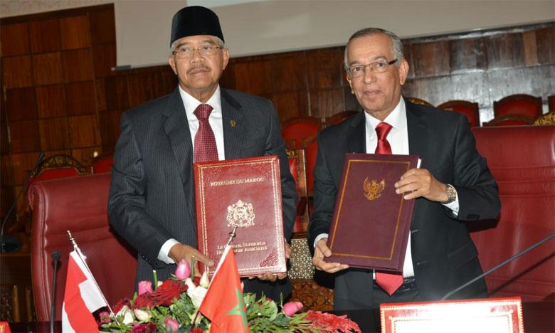 المجلس الأعلى للسلطة القضائية يوقع اتفاقية التعاون القضائي  مع المحكمة العليا باندونيسيا