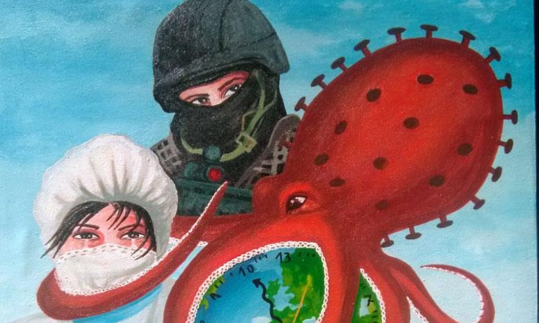 فيروس كورونا يقود التشكيلي أيت بوزيد لإبداع لوحة فنية للتعبير عن الأحداث الجارية