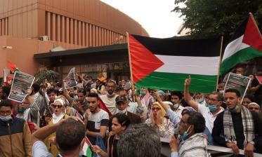 حقوقيون ومثقفون في وقفة احتجاجية حاشدة بمراكش تضامنا مع الشعب الفلسطيني