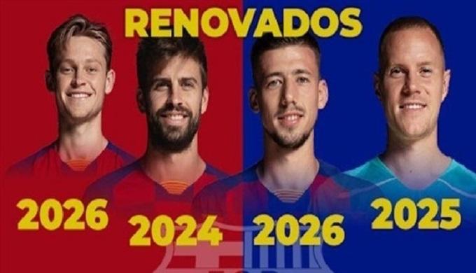 برشلونة يعلن تمديد عقود 4 لاعبين دفعة واحدة