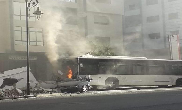 احتراق حافلة في حادثة سير بتطوان يخلف إصابات