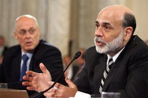 Le président de la Fed, Ben Bernanke avec le secrétaire au Trésor, Henry Paulson à Washington. (Photo : AFP)