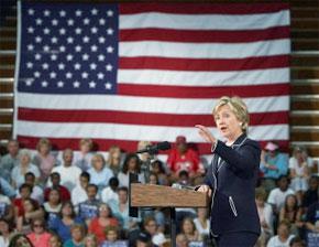 Hillary Clinton lors d'une campagnes de présomption de Barack Obama (D-IL) à Green Valley High School à Henderson. (Photo : AFP)