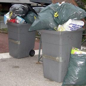 Des poubelles… bien garnies !