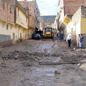 Les rues du quartier Zaouia inondées
