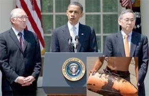 Barack Obama à la Maison Blanche, avec les secrétaires d'Etat à l'Intérieur, Ken Salazar et à l'Energie Steven Chu. (Photo : AFP)