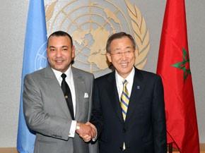 S.M. le Roi s'entretient avec le Secrétaire général de l'ONU, Ban Ki-moon, à New York