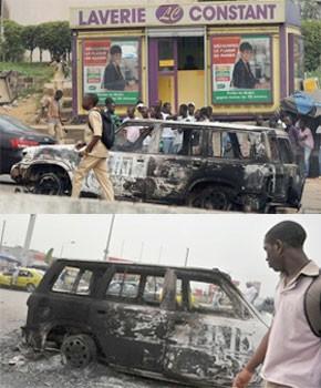 Deux véhicules de l`Onu incendiés à Abidjan