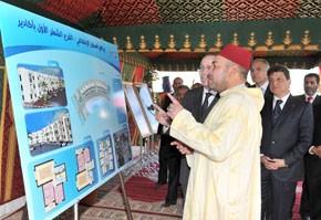 S.M. le Roi Mohammed VI lance à Agadir les travaux des première et deuxième tranches du projet de logements sociaux «Al Farah», d'un coût global de 78 MDH