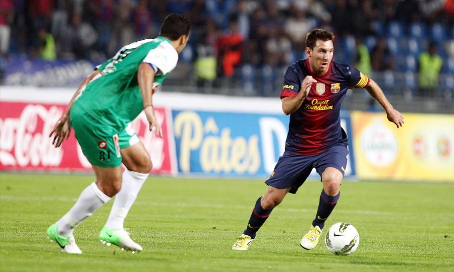 Lionnel Messi lors du match amical entre le Raja de Casablanca et le FC Barcelone. (Photo : MAP)