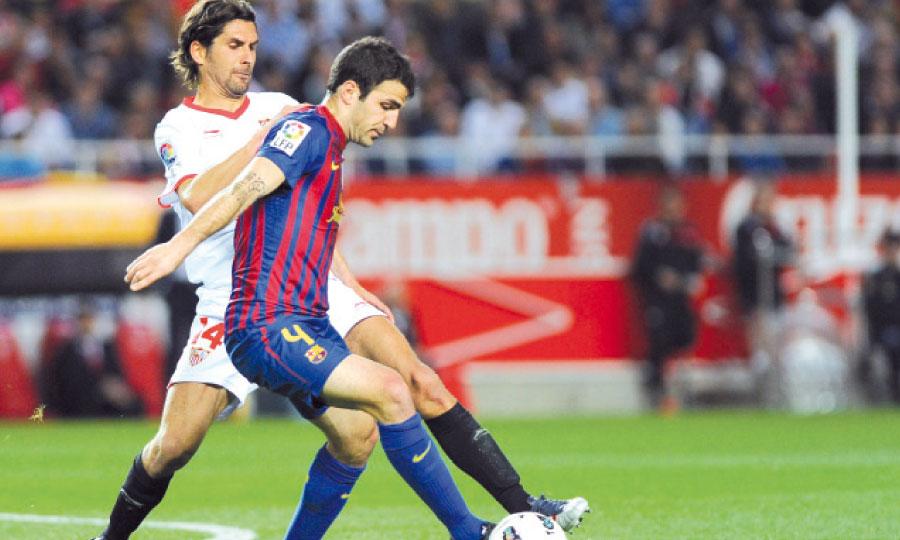 Flamboyant la saison dernière, Cesc Fabregas peine à retrouver son meilleur niveau, malgré les bons résultats du Barça.   Ph. AFP