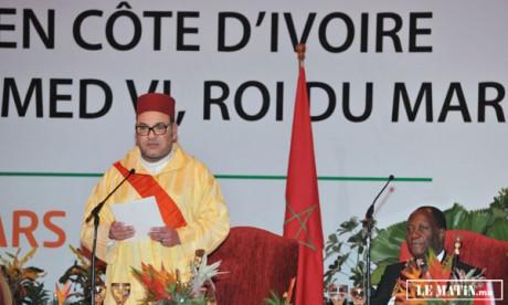 Sa Majesté le Roi réitère la ferme volonté du Maroc d'ériger  avec la Côte d'Ivoire un «modèle fécond et prospère» de coopération Sud-Sud