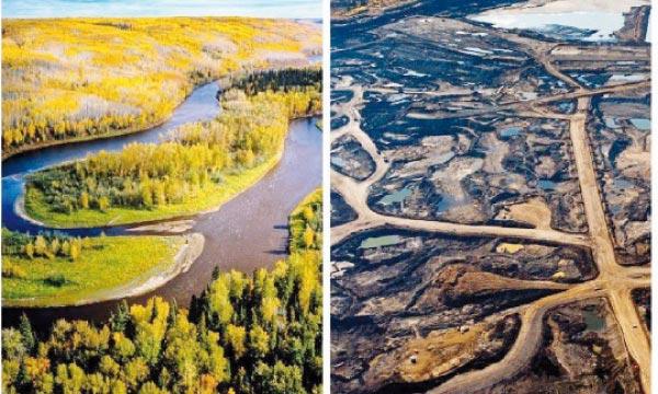 La région canadienne d'Alberta avant et après l'exploitation du sable de schiste.