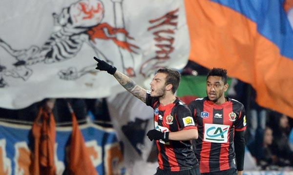 L'attaquant d'Alexy Bosetti célèbre son but contre Marseille,  au Vélodrome en Coupe de France. Ph : AFP