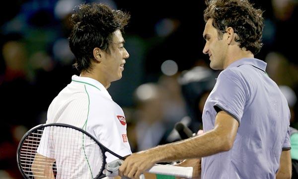 Roger Federer a été éliminé en quart de finale du Masters 1000 de Miami par le Japonais Kei Nishikori (3-6, 7-5, 6-4). Ph : AFP