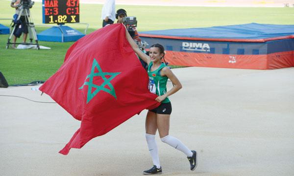 Ghizlane Siba a fait retentir l'hymne national du Maroc, en remportant l'épreuve du saut en hauteur. Ph. AICPRESS