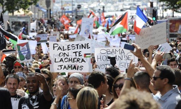 Une manifestation contre l'offensive israélienne à Gaza a eu lieu, à Marseille. La France a réitéré l'«urgence» de faire progresser la solution des deux Etats Israël-Palestine. Ph : AFP