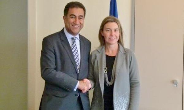 Fathallah Sijilmassi, secrétaire général de l'UpM, avec la haute représentante de la Commission européenne, Federica Mogherini. Ph : le360.ma