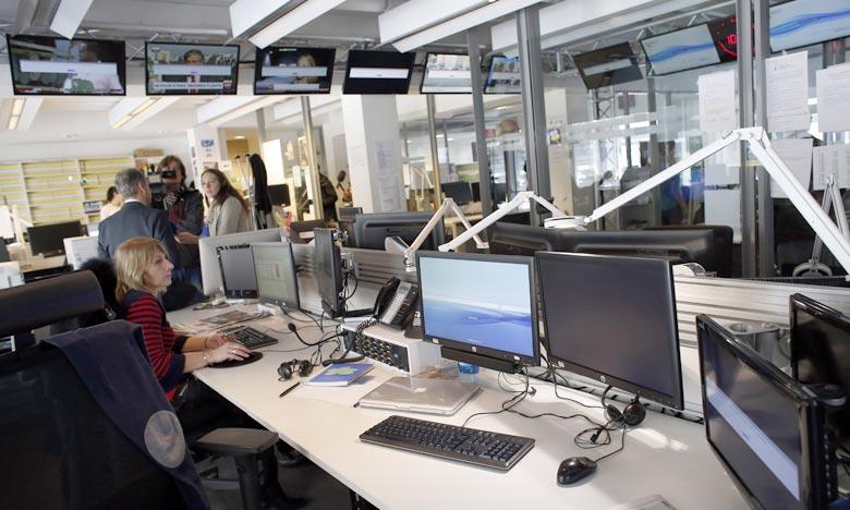 Siège à Paris, après TV5Monde a été piraté par des individus affirmant appartenir au groupe EI. Réseau de la télévision a été contraint de ne diffuser que des programmes pré-enregistrés après qu'il a été piraté. Ph : AFP