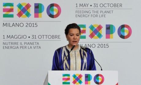 S.A.R. la Princesse Lalla Hasnaa préside la cérémonie officielle  de célébration de la Journée nationale du Maroc et inaugure le pavillon  du Royaume à l'Expo-2015