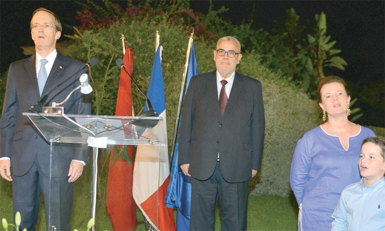 Charles Fries, ambassadeur de France au Maroc, et Abdelilah Benkirane, lors de la réception commémorant la Fête française du 14 juillet. Ph. Saouri