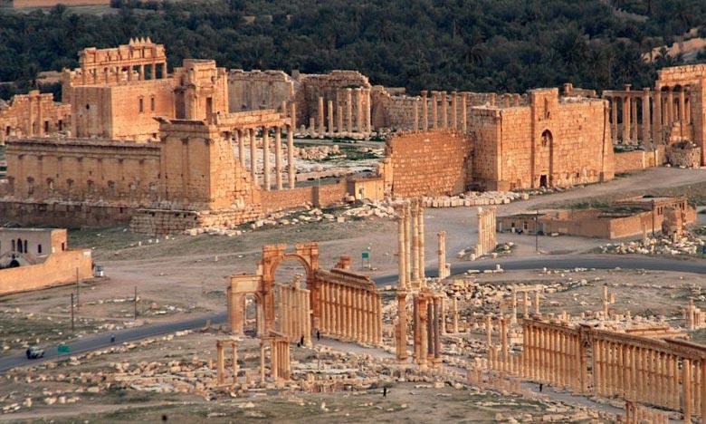 La ville antique de Palmyre, dans le désert syrien. Le patrimoine culturel témoigne de l'histoire humaine, sa protection est une responsabilité partagée qui incombe à la communauté internationale, dans l'intérêt des générations à venir. Ph : AFP