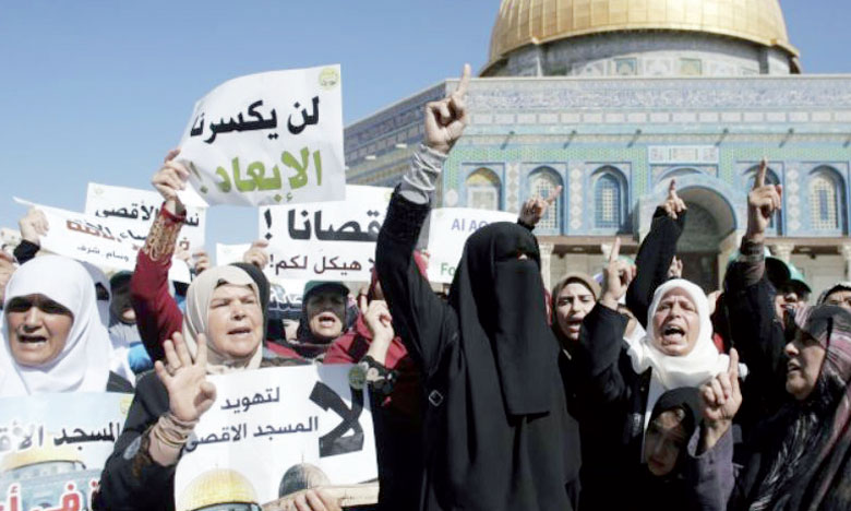 Des femmes palestiniennes manifestant le 27 septembre 2015 sur l'Esplanade des Mosquées à Al Qods.     Ph. AFP