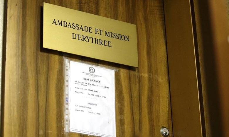 La porte de l'ambassade et mission d'Erythrée auprès des Nations unies à Genève. L'Etat érythréen percevrait des impôts sur ses citoyens vivant en Suisse. La justice a été saisie. Ph : AFP