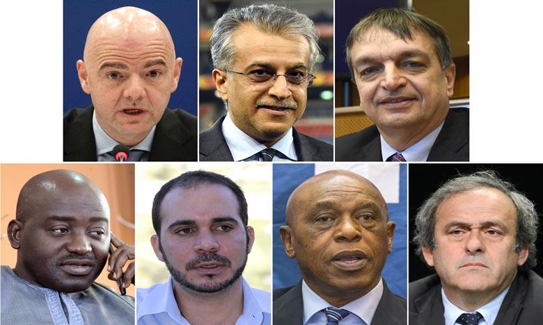 Les sept dossiers enregistrés sont ceux, par ordre alphabétique, du Prince Ali, de Musa Bility, Jérôme Champagne, Gianni Infantino, Michel Platini, du Cheikh Salman et de Tokyo Sexwale. Ph : AFP