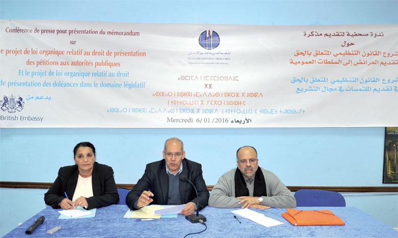 L'OMDH insiste sur la nécessité de réduire le nombre minimum requis de signatures pour la recevabilité d'une motion législative.Ph. Kartouch