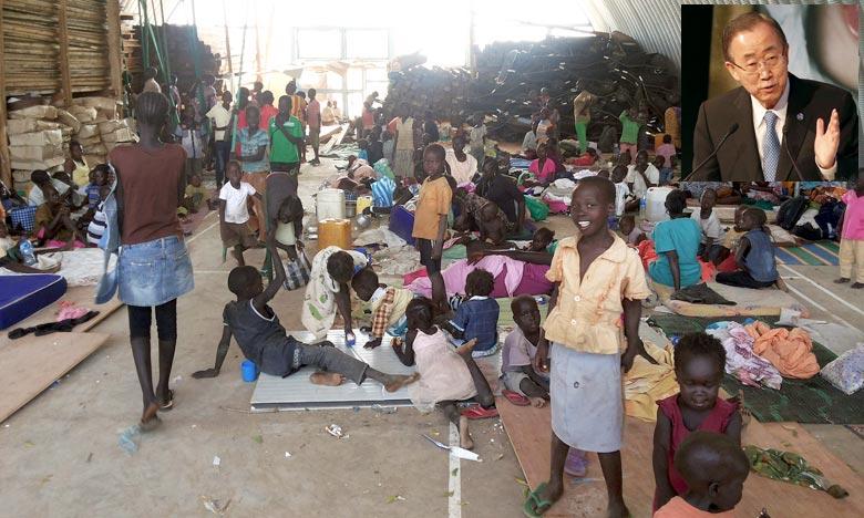 Des réfugiés dans un camp près de l'aéroport de Juba. Le secrétaire général de l'Onu, Ban Ki-moon a exhorté les belligérants au Soudan du Sud à «résoudre leurs divergences» et à former rapidement un gouvernement d'union nationale. Ph : AFP