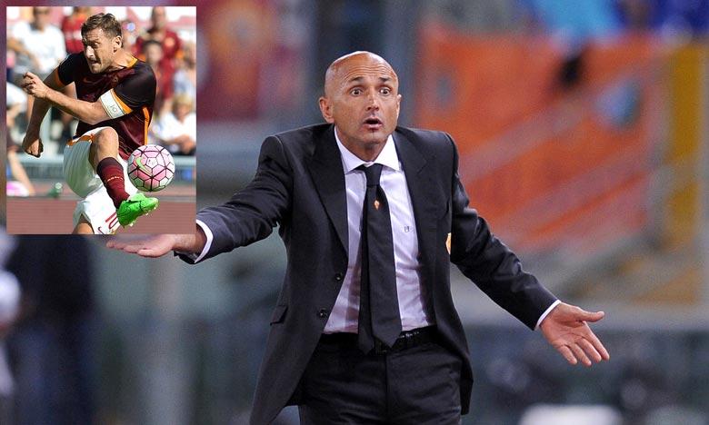 Luciano Spalletti, le coach de l'AS Rome, s'est exprimé sur la mise à l'écart de Francesco Totti. Une décision qu'il ne regrette pas. Ph : AFP