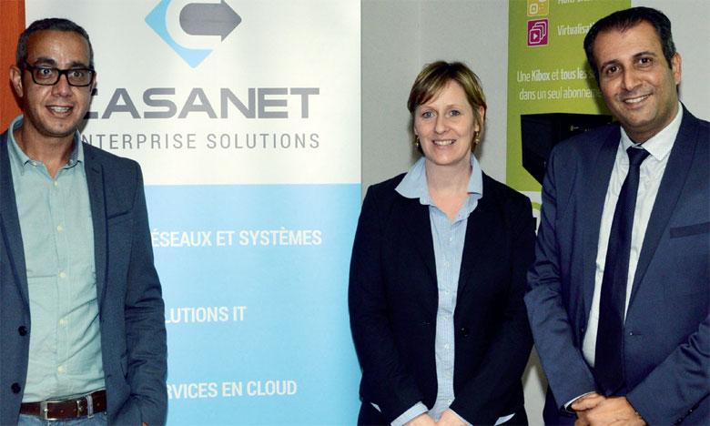 De droite à gauche: Mohamed Sekkat, directeur commercial Casanet,  Laurence Soetens, administratrice Thelis Belgique, et Mourad Amalik,  directeur commercial Thelis Maroc.