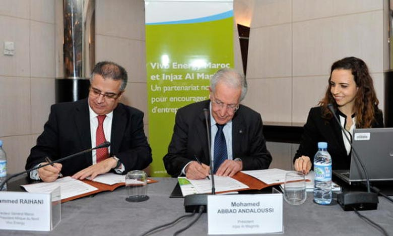 Mohamed Raihani, directeur général de Vivo Energy Maroc et Mohamed Abbad El Andaloussi, président de l'Association Injaz Al Maghrib. Ph : maghress.com