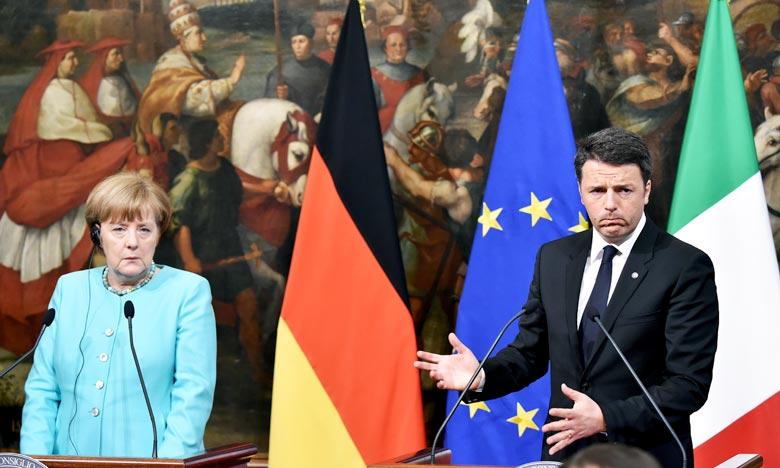 «L'Italie est favorable à une stratégie à long terme et c'est l'Union européenne qui doit prendre le leadership», Matteo Renzi, lors d'une conférence de presse conjointe jeudi avec la chancelière allemande Angela Merkel.    Ph : AFP