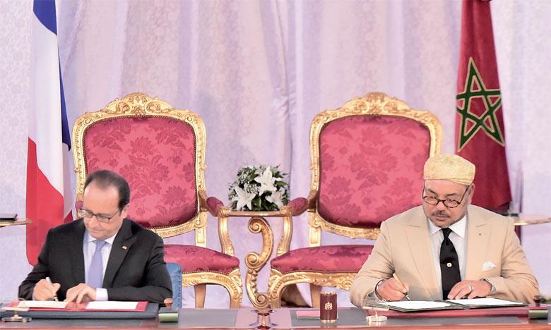 20 septembre2015 : S.M. le Roi Mohammed VI et le Président français, François Hollande, lancent conjointement l'Appel de Tanger.Ph. MAP