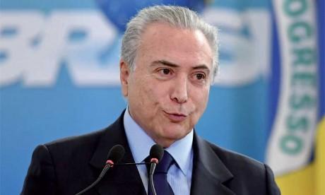 Le Président brésilien Michel Temer lors d'un discours officiel à Brasilia, le 5 octobre2016.                       Ph. AFP