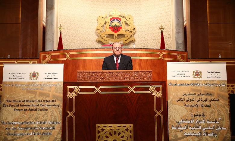 La lecture du message royal a été donnée par le président de la Chambre des conseillers, Hakim Benchamach. Ph. Kartouch