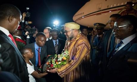 Arrivée de Sa Majesté le Roi Mohammed VI à Lusaka pour une visite officielle en République de Zambie