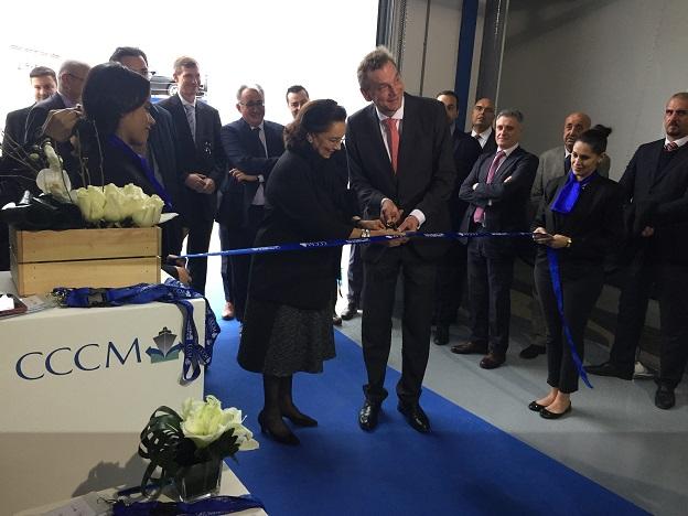 Saïda Lamrani Karim, vice-PDG délégué de la CCCM, et Klemens Rethmann, président du groupe Rhenus Logistics, inaugurant ce jeudi 2 février la plateforme logistique de Tit Mellil