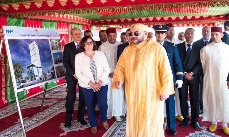 S.M. le Roi pose la première pierre d'un complexe administratif devant regrouper l'ensemble des intervenants du port de Casablanca