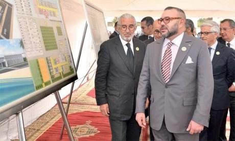 21 mars 2017: S.M. le Roi Mohammed VI a procédé, à Casablanca, à la pose de la première pierre d'un Centre de formation dans les métiers de l'hôtellerie et du tourisme. Ph. MAP