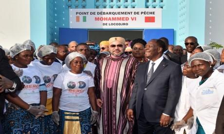 Sa Majesté le Roi Mohammed VI et le Président ivoirien Alassane Ouattara inaugurent le point de débarquement de pêche «Mohammed VI» de Locodjro