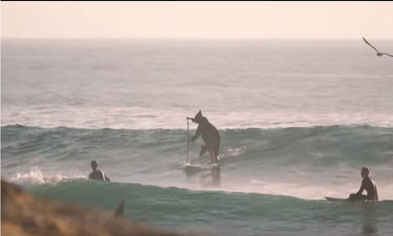Ben Carpentier surfe sur les vagues de Imsouane... et en djellaba SVP!