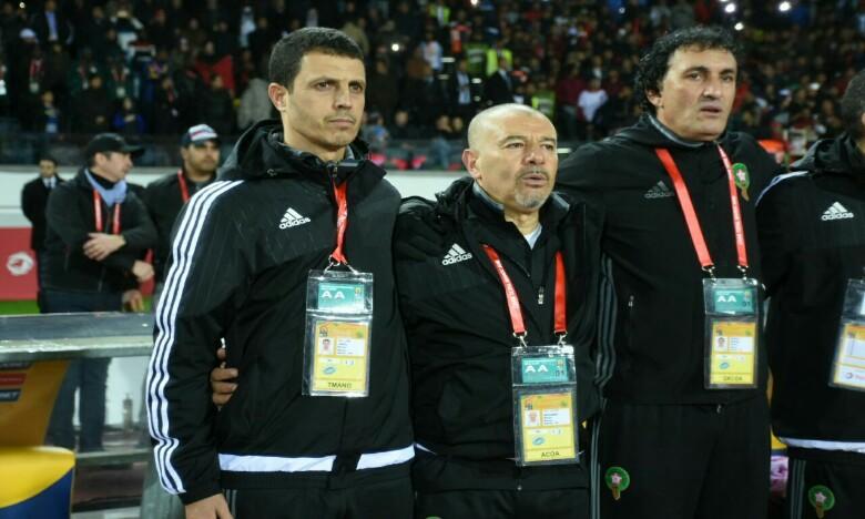 De gauche à droite : l'entraîneur national, Jamal Sellami et le staff de la sélection nationale. Ph : Seddik