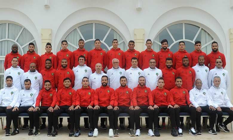 Photo officielle de l'équipe nationale des joueurs locaux. Ph. FRMF