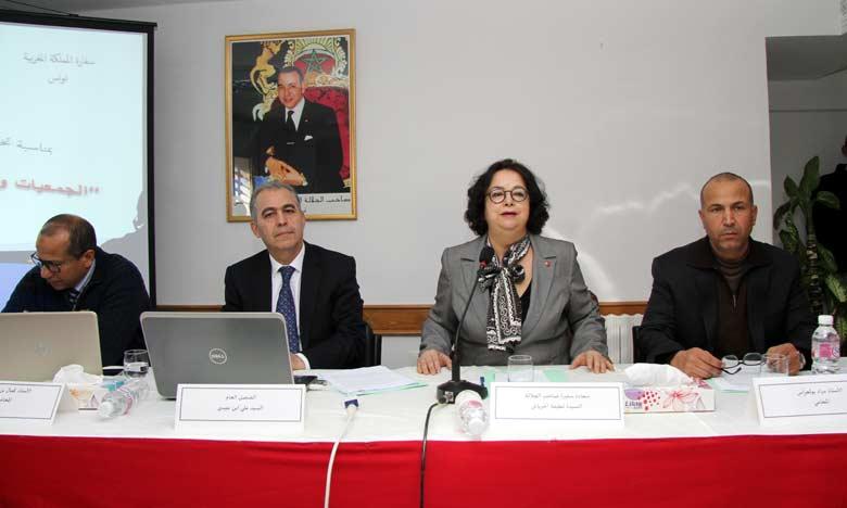 L'ambassadeur du Maroc à Tunis, Latifa Akharbach a mis l'accent sur la haute sollicitude dont S.M. le Roi  Mohammed VI entoure la communauté marocaine établie à l'étranger. Ph. MAP
