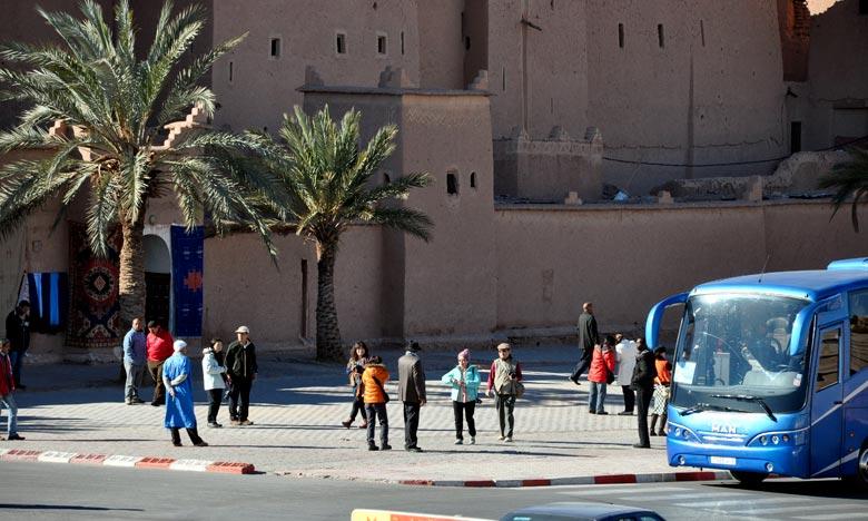 La progression du nombre des touristes ayant visité la province d'Ouarzazate, s'explique par l'évolution (+ 44%) de l'effectif des touristes non-résidents (+ ¾ du volume global), puisque leur volume est passé de 132.245 en 2016 à 189.947. Ph : MAP