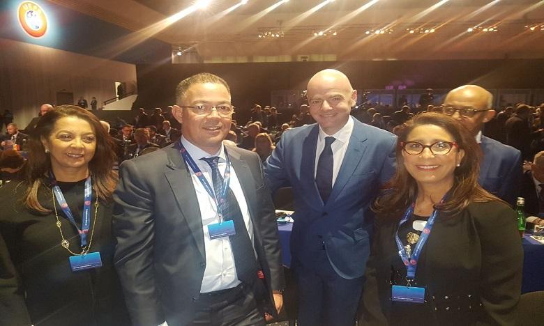 Fouzi Lekjaa fait la promotion de la candidature du Maroc au congrès de l'UEFA
