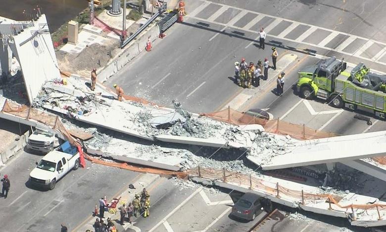 Effondrement d'un pont piétonnier à Miami